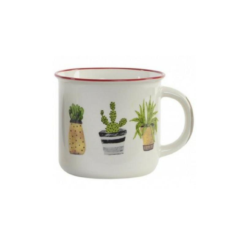 Növény mintás porcelán bögre