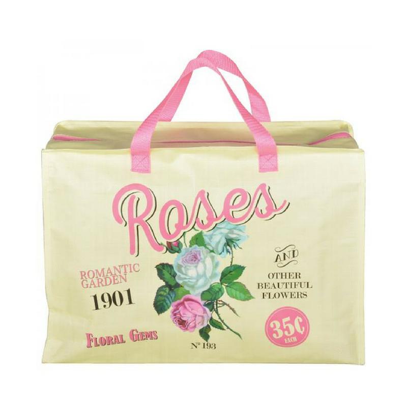 Rózsás táska cipzárral