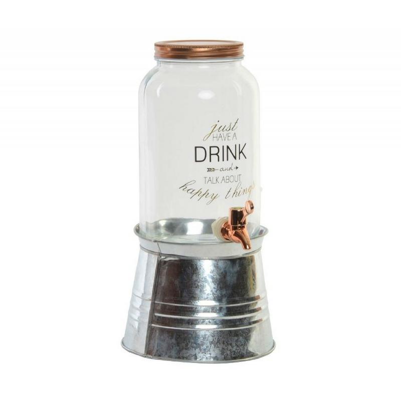 Réz tetejű limonádés üveg állvánnyal, 3 literes