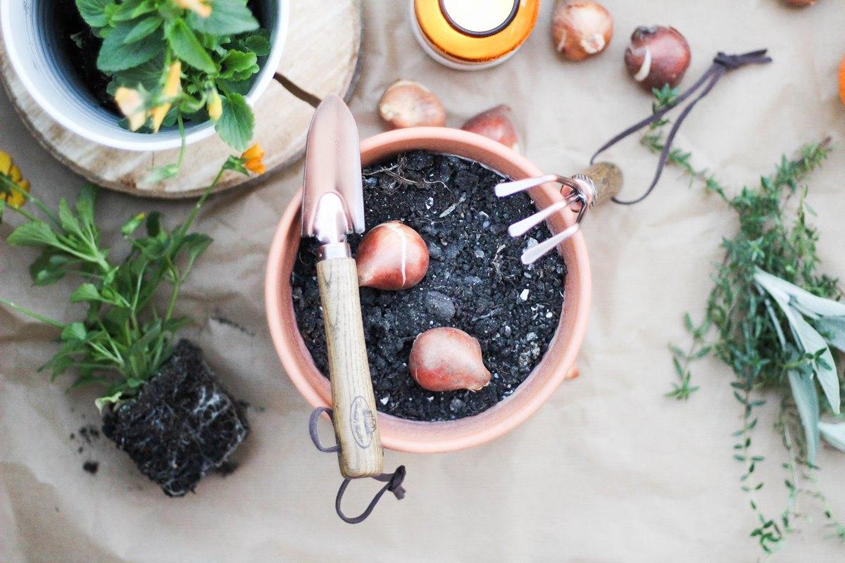 Rézzel bevont kerti szerszámok kis méretben