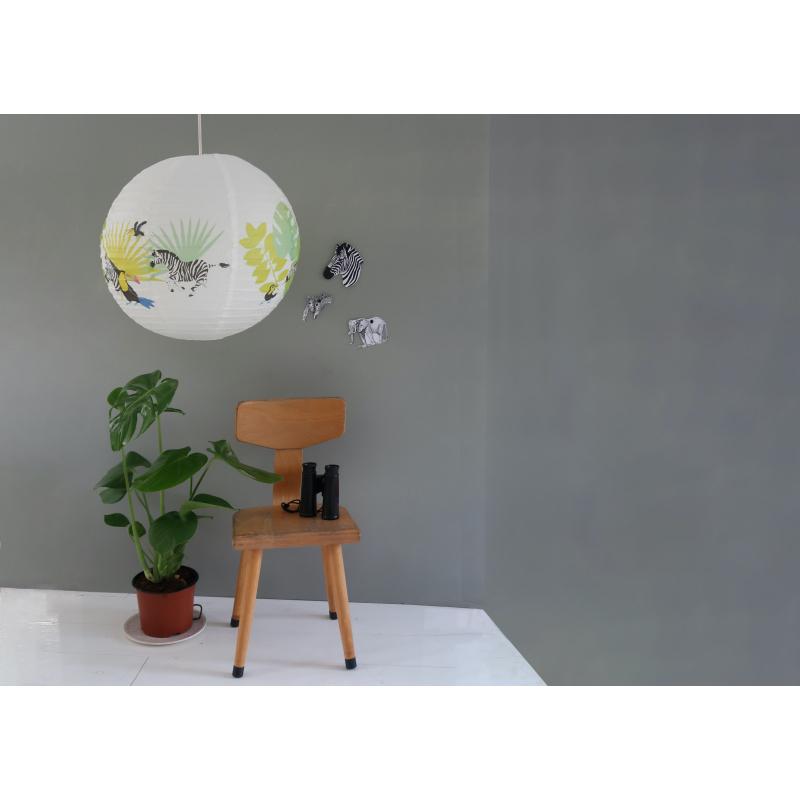 Rizspapír lámpa, trópusi mintával