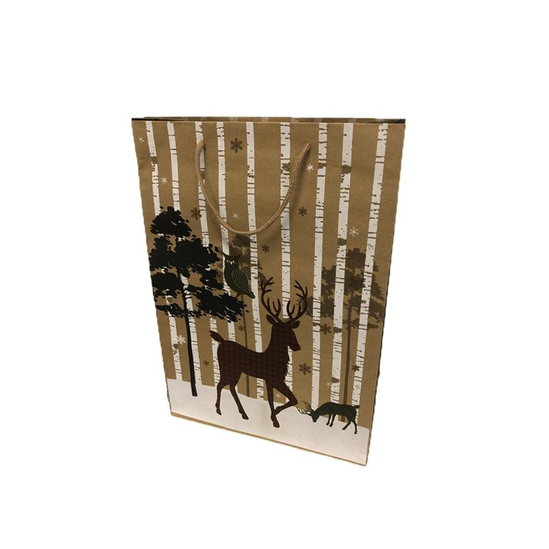 Szarvasos karácsonyi papírtáska 18 x 23 cm