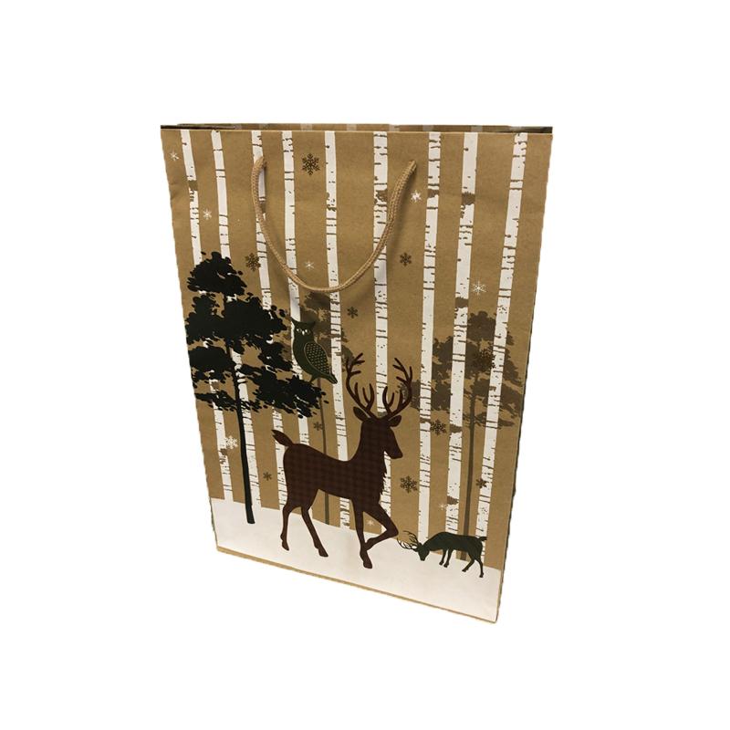 Szarvasos karácsonyi papírtáska 26 x 32 cm