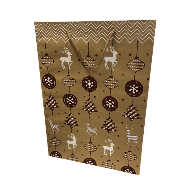 Szarvasos karácsonyi papírtáska 30 x 42 cm