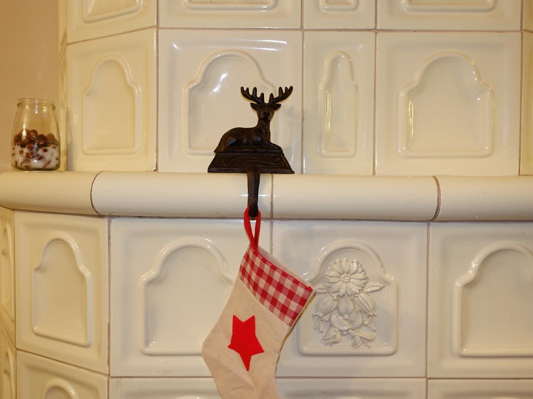 Szarvasos karácsonyi zoknitartó