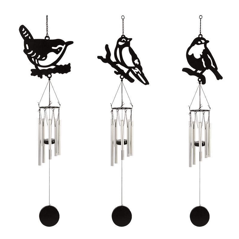 Szélcsengő, fekete madaras mintával, 3 féle