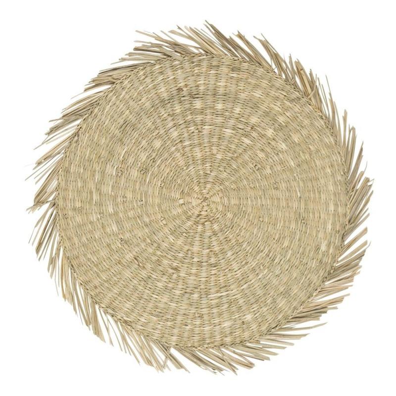 Tányéralátét tengeri fűből, kerek, natúr