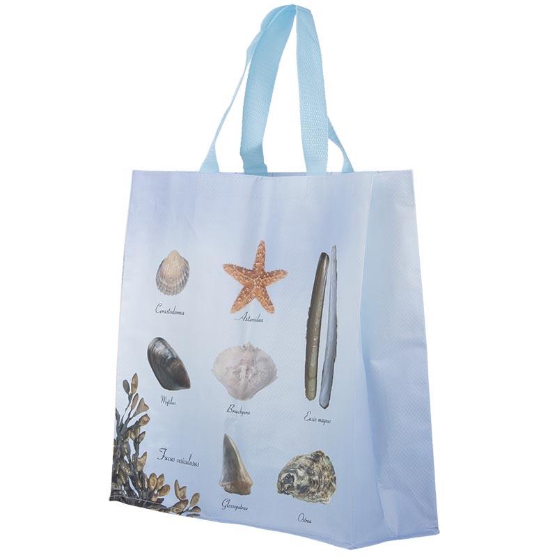 Tengerpart mintás bevásárló táska, L