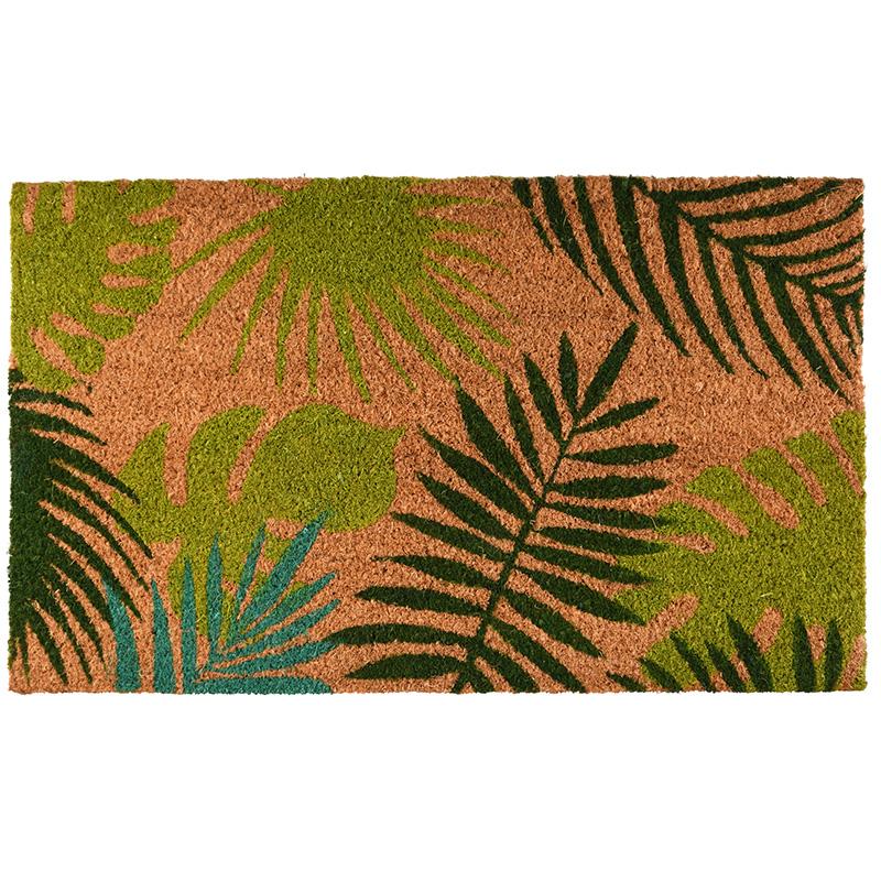 Trópusi levél mintás kókuszrost lábtörlő 75 x 45