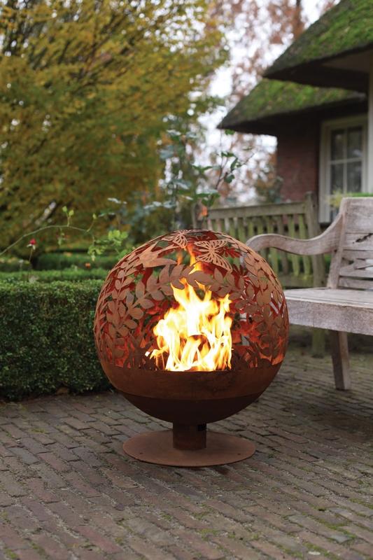 Tűzrakó gömb, virág mintával
