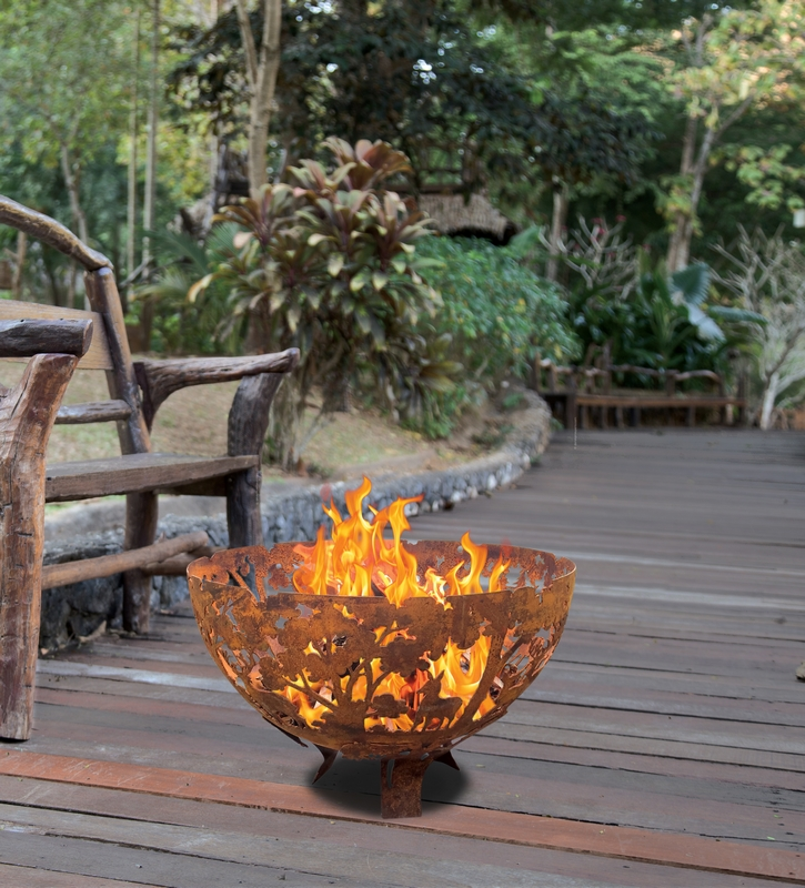 Tűzrakó tál, erdei mintával