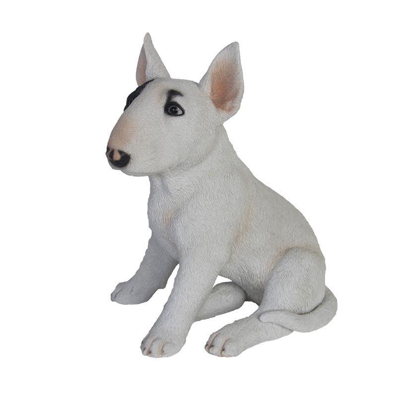 Ülő bull terrier kutya szobor, M