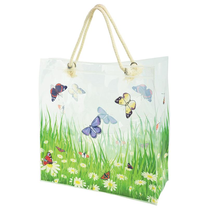 Virág és pillangó mintás bevásárló táska
