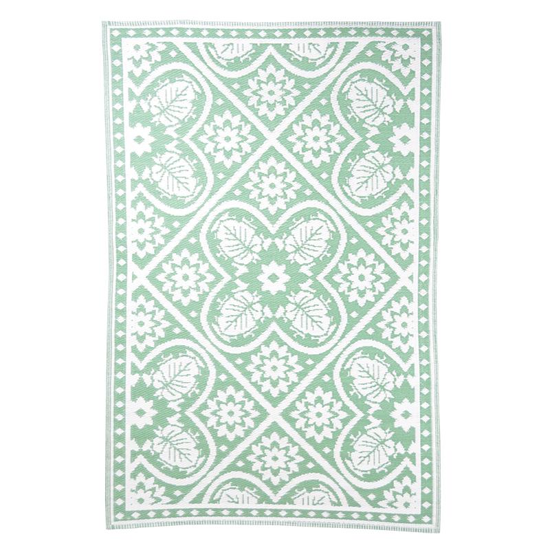 Zöld-fehér mintás, négyzet alakú, kétoldalú kültéri szőnyeg
